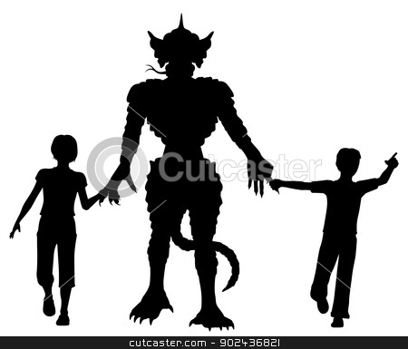Monster kids stock vector clipart, Editable vector silhouettes of two children leading a lizard monster by the hands with figures as separate objects by Robert Adrian Hillman