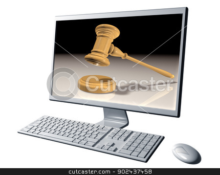 Internet auction stock photo, Isolated illustration of a desktop computer representing Internet auctions by Paul Fleet