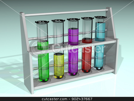 Rack of test tubes stock photo, Illustration of a rack of five test tubes in a line containing different colored chemicals by Paul Fleet