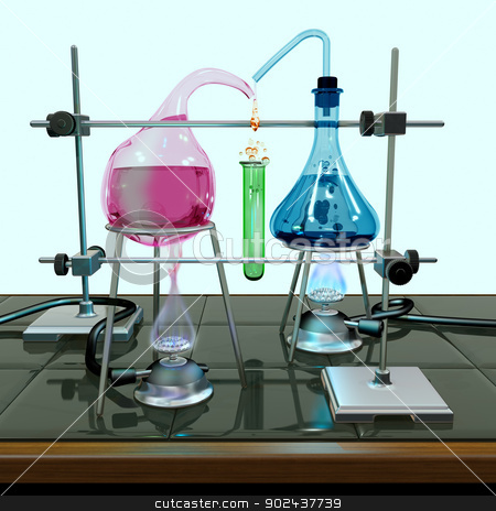Impossible chemistry experiment stock photo, Illustration of a chemistry experiment with impossible equipment by Paul Fleet