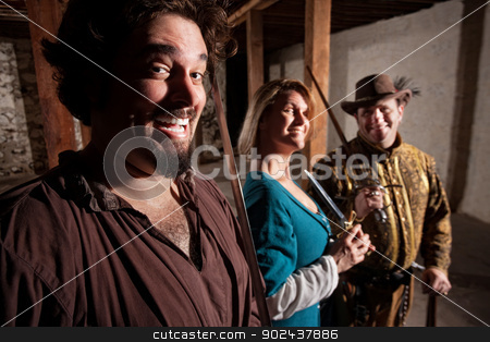 Giggling Medieval Characters stock photo, Giggling group of European middle ages characters by Scott Griessel