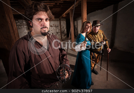 Aggressive Medieval Characters stock photo, Aggressive live action role playing game medieval characters by Scott Griessel