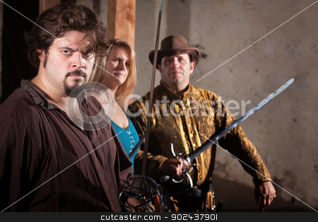 Three Sword Fighters in Dungeon stock photo, Three tough sword fighters in a dungeon by Scott Griessel