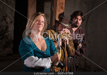 Confident Middle Ages Lady stock photo, Smirking young woman with nervous friends in medieval character by Scott Griessel