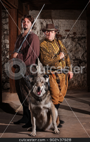 Swordfighters and Dog stock photo, Confident middle ages heroes with swords and dog by Scott Griessel