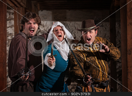 Swashbucklers and Nun with Swords stock photo, Aggressive swashbucklers and nun shouting with their swords by Scott Griessel