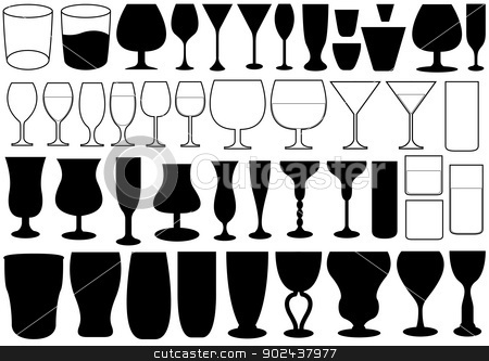 Glass stock vector clipart, Illustration of different glasses isolated on white background by Smultea Simona