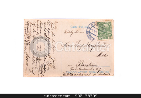 historical postcard stock photo, a historical postcard on the white background by Jiri Vaclavek