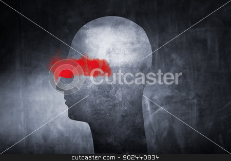 Blindfolded stock photo, Conceptual image of an abstract head with red paint over the eyes. by Stocksnapper