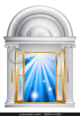 Marble door entrance stock vector clipart, An illustration of an open marble door entrance with blue light on the other side, could be a concept for heaven or the afterlife by Christos Georghiou