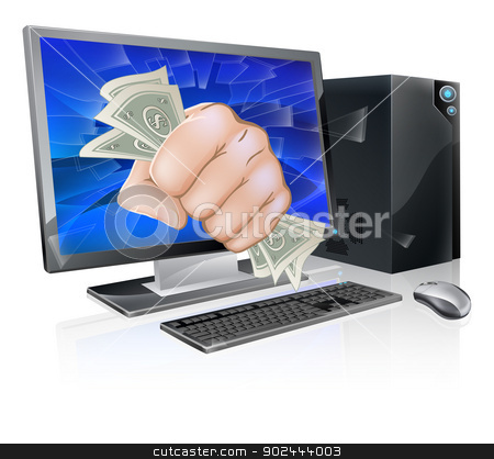 Computer with fist full of cash stock vector clipart, An illustration of a desktop computer with a fist full of dollars breaking out of the screen by Christos Georghiou