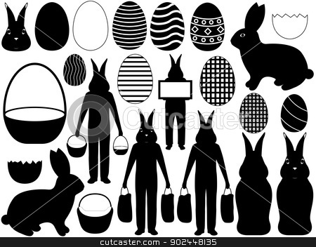 Easter elements stock vector clipart, Illustration of different easter elements isolated on white background by Iliuta