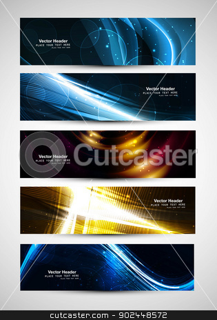 abstract Various bright colorful header set vector  stock vector clipart, abstract Various bright colorful header set vector  by bharat pandey