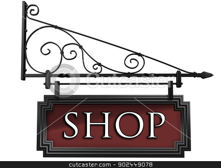 Isolated shop sign stock photo, Illustration of an isolated antique style shop sign by Paul Fleet