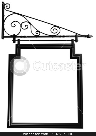 Isolated blank pub sign stock photo, Illustration of an isolated blank pub sign by Paul Fleet