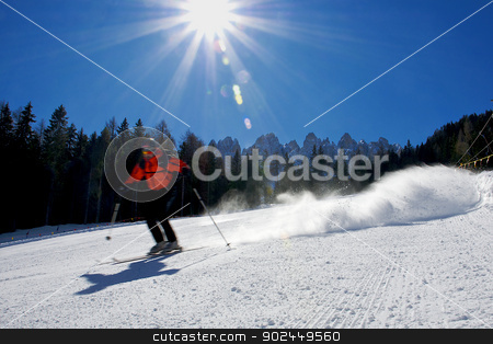 Skier  stock photo, Skier in high mountains, italian alps  by vinciber