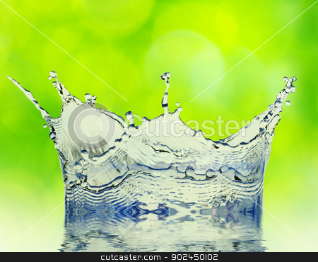splash water  stock photo, Sparks of blue water on a green background by Vitaliy Pakhnyushchyy