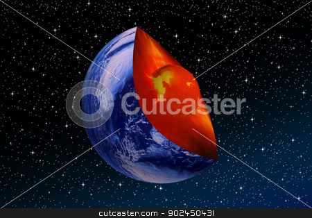 core of the earth stock photo, Cup of Planet Earth and its core a backdrop of night sky by Cochonneau