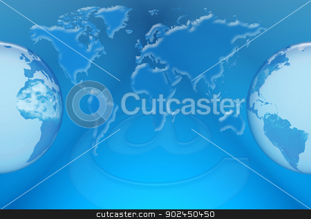 Website stock photo, Communication and Internet networks in the world against the background of world map and digital system by Cochonneau