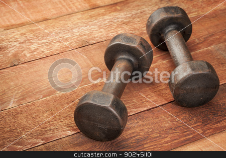 vintage iron dumbbells stock photo, a pair of vintage iron rusty dumbbells on red barn wood background - fitness concept by Marek Uliasz