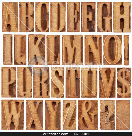 letterpress wood type alphabet stock photo, alphabet in modern letterpress wood type printing blocks (unused), a collage of 26 isolated letters, question mark, exclamation point, ampersand and dollar sign by Marek Uliasz
