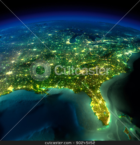 Night Earth. A piece of North America - South Eastern United Sta stock photo, Highly detailed Earth, illuminated by moonlight. The glow of cities sheds light on the detailed exaggerated terrain and translucent water of the oceans. Elements of this image furnished by NASA by Antartis