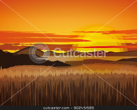 Landscape stock vector clipart, Landscape with rocky mountains at sunset by Miroslava Hlavacova