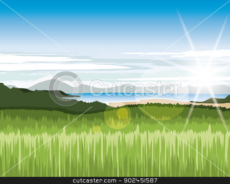 Landscape stock vector clipart, Landscape with green meadows and mountains by Miroslava Hlavacova