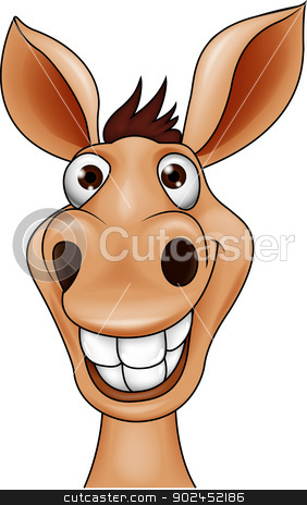 Smiling donkey head cartoon stock vector clipart, Vector illustration of Smiling donkey head cartoon by Teguh Mujiono