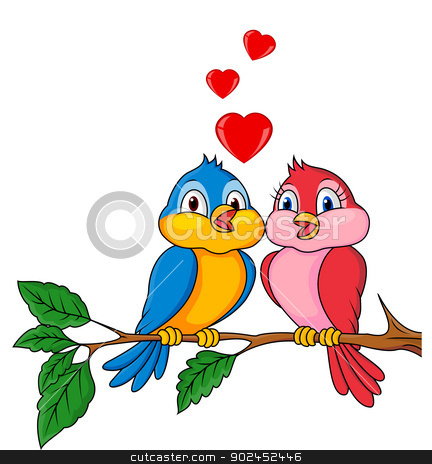 Birds cartoon with love stock vector clipart, Vector illustration of Birds cartoon with love by Teguh Mujiono