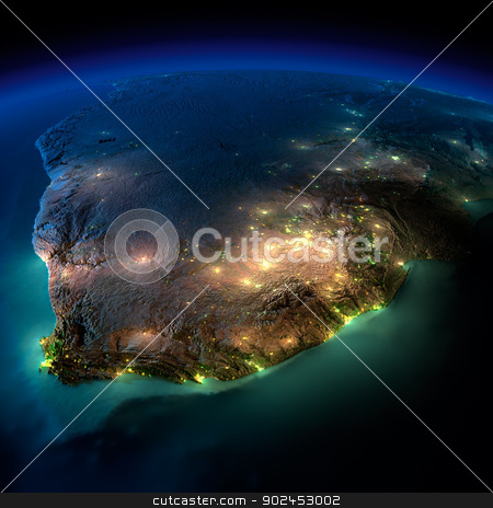 Night Earth. South Africa stock photo, Highly detailed Earth, illuminated by moonlight. The glow of cities sheds light on the detailed exaggerated terrain and translucent water of the oceans. Elements of this image furnished by NASA by Antartis