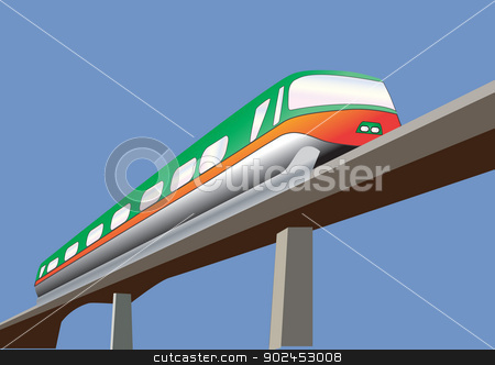 Monorail stock vector clipart, A Green and Orange Monorail Train on a bridge by d40xboy