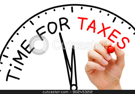 Time for Taxes stock photo, Hand writing Time for Taxes concept with red marker on transparent wipe board. by Ivelin Radkov