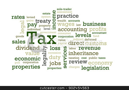Tax Word Cloud stock photo, Words associated with Tax. by Chris Dorney