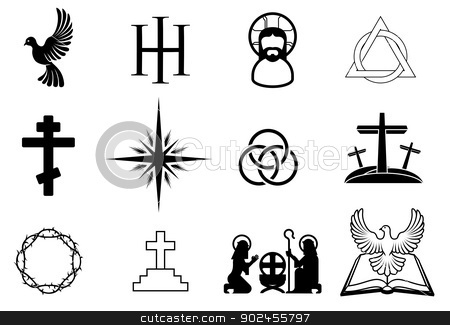 Christian icons stock vector clipart, A set of Christian religious signs and symbols by Christos Georghiou