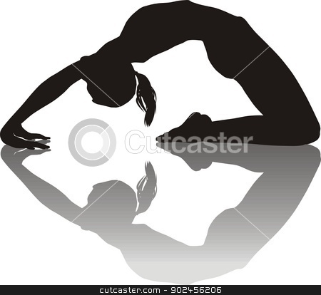Woman practicing Yoga stock vector clipart, Black and white illustration of women yoga instructor   by Vladim?