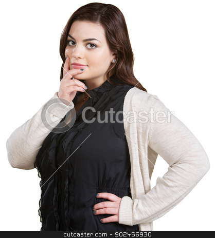 Woman with Fingers on Chin stock photo, Isolated pretty young white female with fingers on chin by Scott Griessel