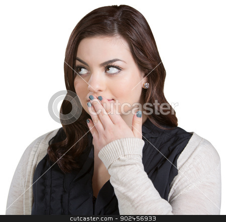Woman With Fingers on Mouth stock photo, Isolated beautiful woman with fingers on mouth by Scott Griessel