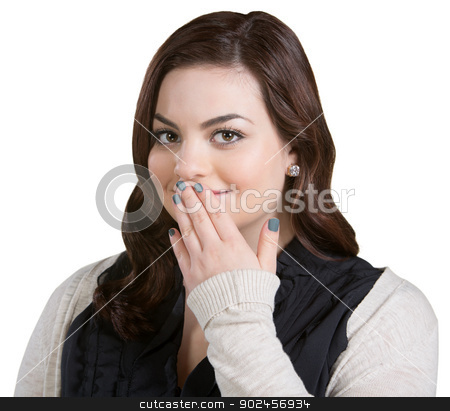 Smiling Woman Covering Mouth stock photo, Smiling Caucasian young adult with fingers on mouth by Scott Griessel
