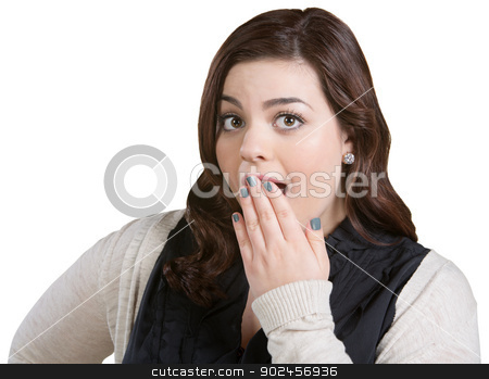 Surprised Young Woman stock photo, Surprised young female on white with hand over mouth by Scott Griessel
