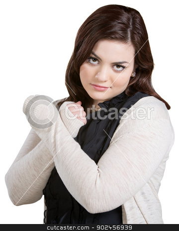 Skeptical Lady with Arms Crossed stock photo, Skeptical lady with wrists crossed on white background by Scott Griessel