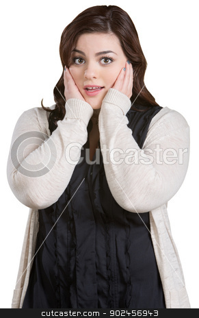 Scared Woman Covering Ears stock photo, Uncomfortable female with hands on ears over white background by Scott Griessel