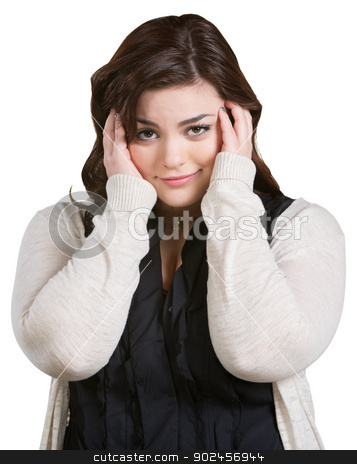Smirking Lady with Hands on Hair stock photo, Smirking young woman with hands on ears over white by Scott Griessel