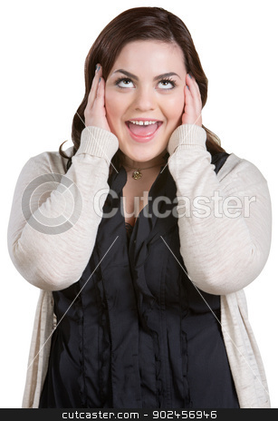Yelling Woman with Covered Ears stock photo, Yelling woman with smile covering her ears by Scott Griessel