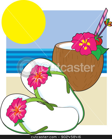 Flip Flops and Drink stock vector clipart, A collection of illustrations symbolizing the simple highlights of a tropical vacation. by Maria Bell
