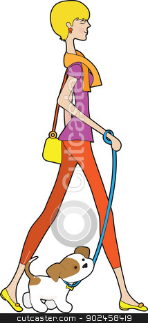 Lady Walking Puppy stock vector clipart, A smartly dressed young woman is out for a stroll, with a puppy on a leash. by Maria Bell