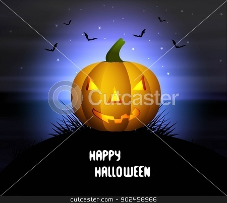 Halloween Party bright blue background Pumpkin grass Bats vector stock vector clipart, Halloween Party bright blue background Pumpkin grass Bats vector illustration by bharat pandey