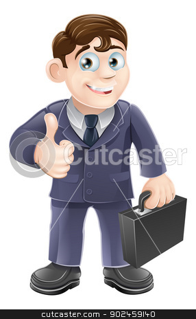 Man in suit thumbs up drawing stock vector clipart, A happy smiling cartoon business character giving the thumbs up by Christos Georghiou