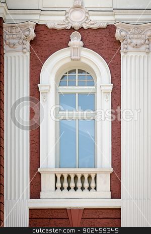 A vertical window with columns. Architectural detail of the Nati stock photo, A vertical window with columns. Architectural detail of the National Theatre in Sofia, Bulgaria by velislava