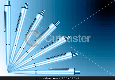 Fan of pens on a blue graduated background stock photo, Fan of pens on a blue graduated background by velislava